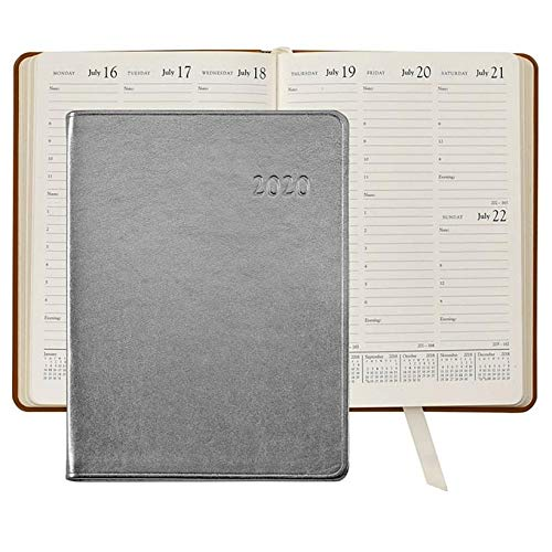 Calfskin Metallic Leather (2020 Desk Diary 9in Silver Metallics Leather by Graphic ImageTM - 7x9)