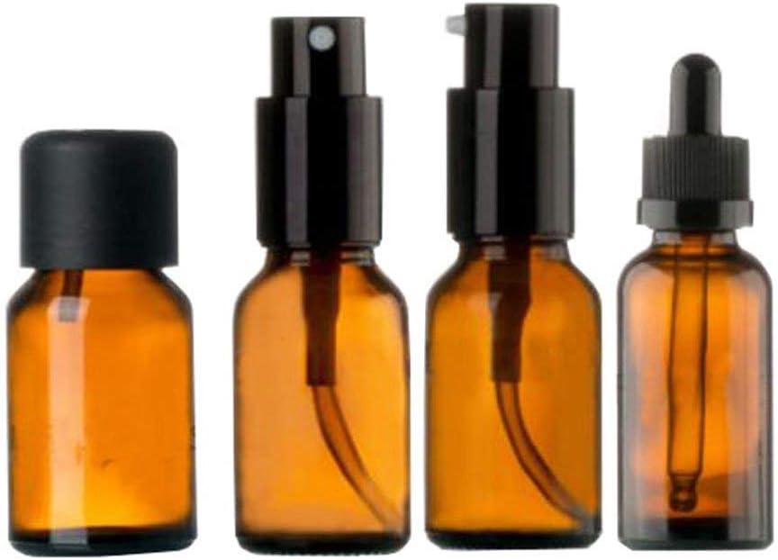 Nyfcc 15 ml Botella de Vidrio retornables Conjunto vacío del envase del pulverizador, Aceite Esencial, Emulsión-A1: Amazon.es: Hogar