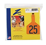Z Tags 1-Piece Pre-Numbered Hot Stamp Tags for Cows, Numbers from 26 to 50, Orange