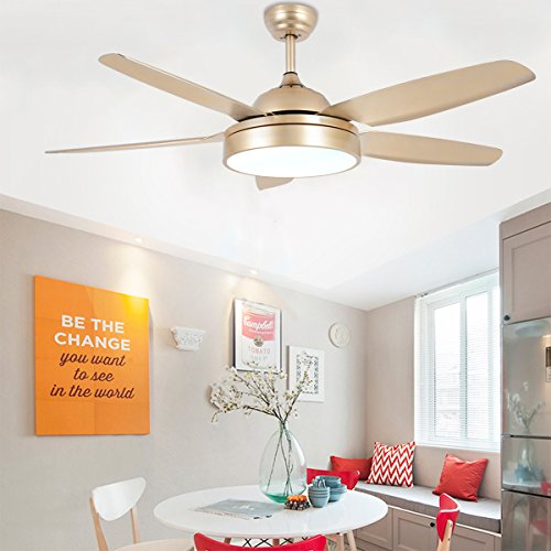52 Inch Modern Indoor Ceiling Fan With Light and Remote 5-Blades Quiet For Living Room Dinner Room