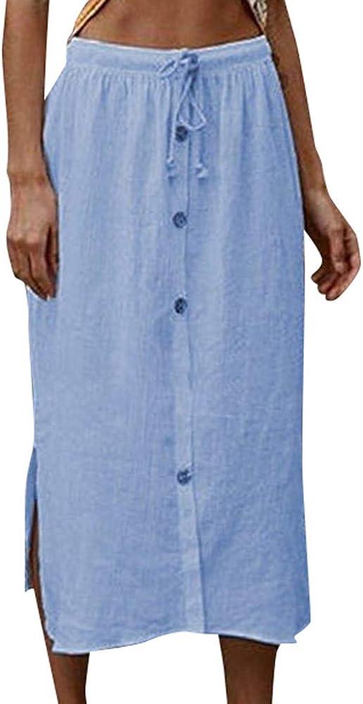 Gusspower Mujer Falda Larga Plisada Vintage con Botones Tallas Grandes Falda de Algodón Midi A-Line Cintura elástica con Cordones Moda Sueltos Vestido bifurcado: Amazon.es: Ropa y accesorios