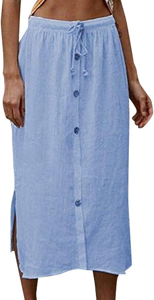Gusspower Mujer Falda Larga Plisada Vintage con Botones Tallas ...