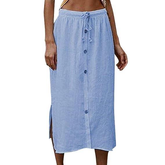 Sylar Faldas Largas Mujer De Algodón Color Sólido Faldas Largas ...