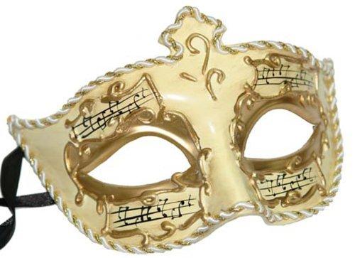 Medici Eye Music Notes Mardi Gras Mask Gold & Ivory Antique Halloween Prom Masquerade