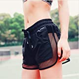 Women Mesh Gym Shorts Quick Dry Cooldry Fitness Running Pantalones With Lining by MarbellStore (S)
