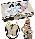 hkhuixin - Baby 3 in 1 Portable Bassinet, Diaper Bag and Change Station with Fitted Sheet and Carabiner Keyring (Cream)