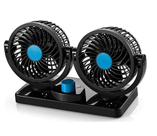 KanCai 12V Car Fan 360 Degree Rotation Adjustable Dual Head Car Auto Cooling Air Fan- Powerful Quiet 2 Speed Rotatable Dashboard Auto Fan with Summer Cooling Air Circulator