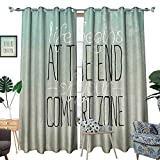 luvoluxhome Blackout Curtain Patio Sliding Door Curtain for Living Room/Bedroom Motivational Life Begins