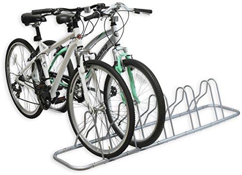 Simple Houseware 5 Bike Bicycle Floor Parking Adjustable Storage Stand, Silver by Simple Houseware (Image #2)