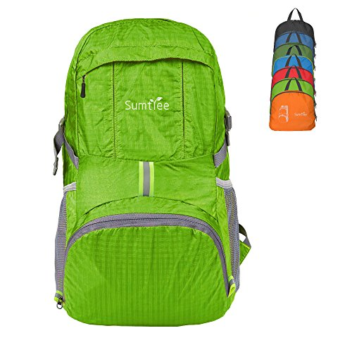 Sumtree 35L Ultra Lightweight Foldable Packable Backpack, Men and Women Durable Light Hiking Cycling Sports Travel Daypack, Water Resistant (Light Green) ()