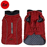 Sensfun Retro Dog Jacket Cotton Life Vest Cold Weather Warm Pet Outfits Clothes Red XS