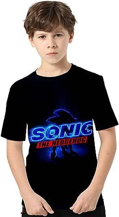 Silver Basic Camiseta de Verano de Manga Corta de Tamaño Infantil Sonic The Hedgehog Camisetas para Niños Videojuego Sonic The Hedgehog Gifts Top Estampado en 3D