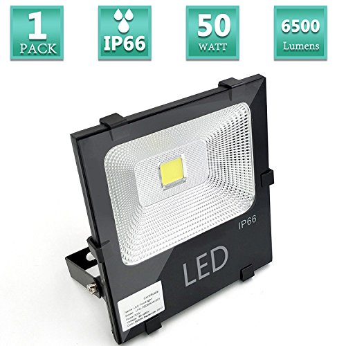 Super Bright 50W LED Flood Lights, Waterproof IP66, Warm White 2700K, 6500lumens, 250W Halogen Equivalent, Security Lights, Outdoor Floodlight Lamp, AC 85-265V Input Voltage-1 Pack