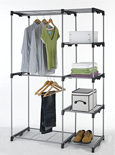 5 Wire Shelves Portable Organizer Closet Storage & 2 Garment Hanger Shelf Bars for Bedroom and Sitting Room