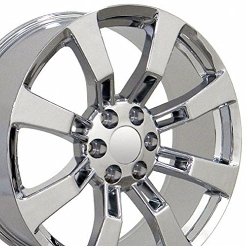 22×9 Wheel Fits GM Trucks and SUVs – Cadillac Escalade Style Chrome Rim, Hollander 5409