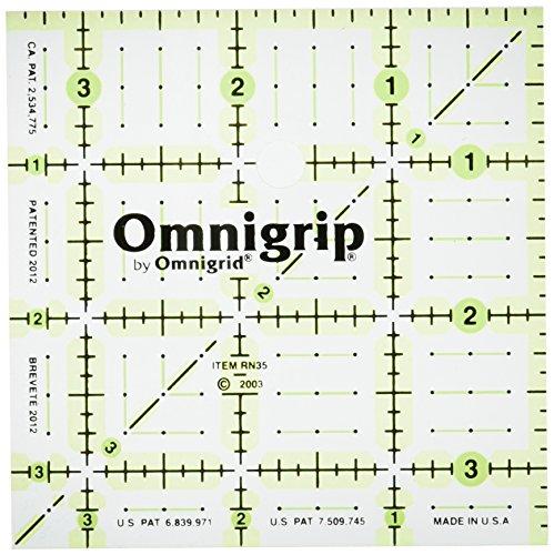 Omnigrid Omnigrip Neon 3-1/2-Inch Non-Slip Ruler, - Quilt Squares 3 Inch