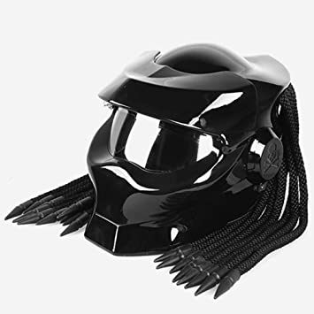 BSDDP Moto Cascos Depredador Universal Mascarilla Facial De Fibra De Carbono NECA Hombre De Acero Trenzas con Flecos Casco De Motocicleta: Amazon.es: ...