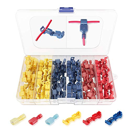 (120 PCS Funtin T Tap Electrical Connectors - Quick Wire Splice Taps and Insulated Male Quick Disconnect Terminals)