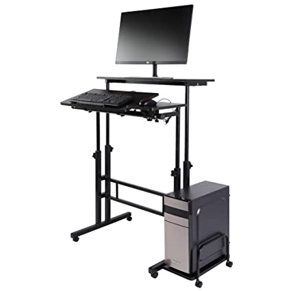 Pleasing Amazon Com Standing Computer Desk Wooden Height Download Free Architecture Designs Crovemadebymaigaardcom