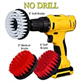 glass tub cutter - HIFROM 5inch Soft Medium Stiff Attachment Scrub Powered Drill Brush Cleaning Kit for Boat Marine Brick Ceramic Marble Grout Siding Garage Cutters Glass Carpets (Pack of 3)