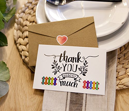 Thank You Note Cards Postcards with Funny Decor Stickers Set - 48 Assorted Bulk Pack Handwritten Greeting Cards - Blank Backside - For Wedding, Baby Shower -Brown Craft Paper Envelopes - 4 x 6 inches Photo #6