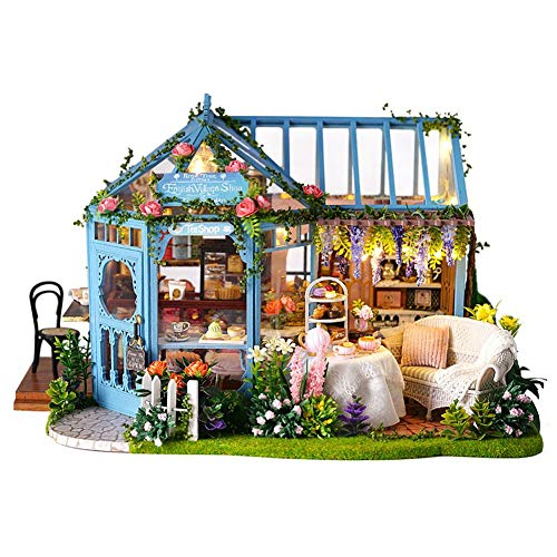 etateta Girls Architectural Model LED Toys, Innovative DIY Cabin Rose Garden Tea House Wooden Villa with LED Girls Christmas Birthday