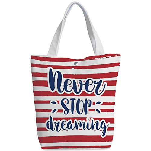 Canvas Shopping bag,shoulder handbags,Shoulder Bag,Quote,Never Stop Dreaming Quote Frame Print over Stripes United States Theme Artsy Design,Red Indigo,Stylish Canvas Tote Bag