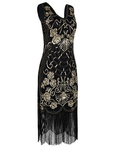 PrettyGuide Damen Charleston Kleid Vintage Pailletten 1920er Gatsby Cocktailkleid Gold 8KWdcePudv