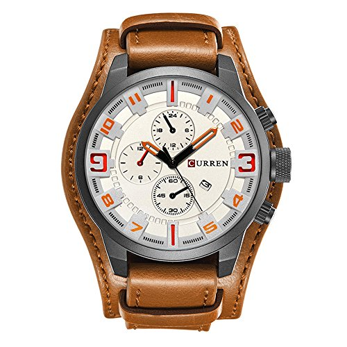 White Leather Cuff Watch - Retro Luxury Wide Cuff Watch Calendar Decorative Small Dial Leather Strap Men Wrist Watch, Brown-White