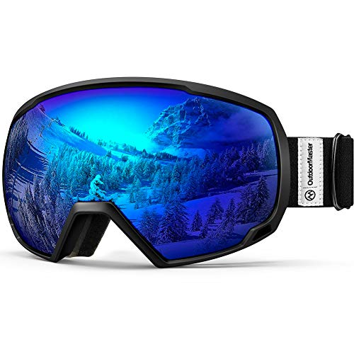 OutdoorMaster OTG Ski Goggles - Over Glasses Ski/Snowboard Goggles for Men, Women & Youth - 100% UV Protection (Black Frame + VLT 15.4% Blue Lens)