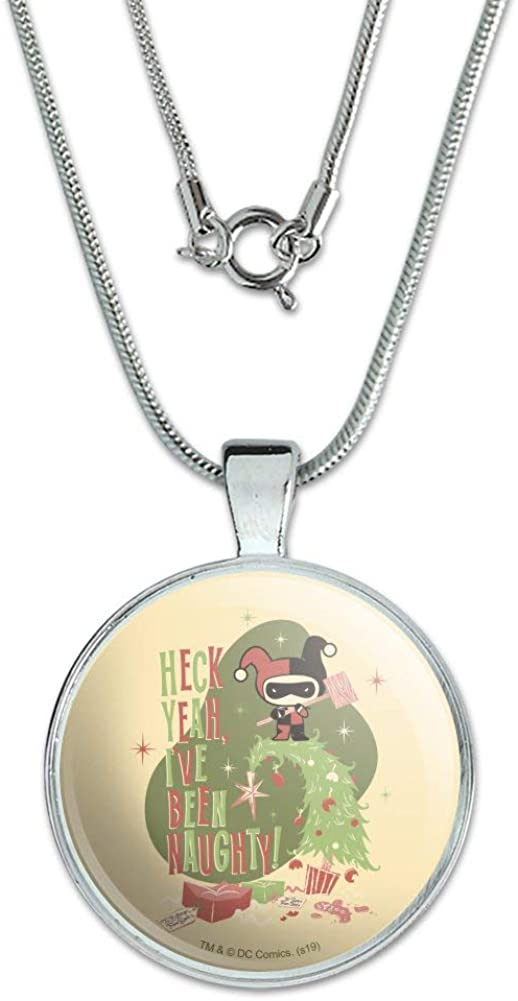 GRAPHICS /& MORE Harley Quinn Ive Been Naughty 1 Pendant with Sterling Silver Plated Chain