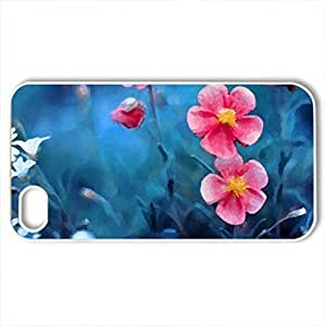 lintao diy blossoms - Case Cover for iPhone 4 and 4s (Flowers Series, Watercolor style, White)