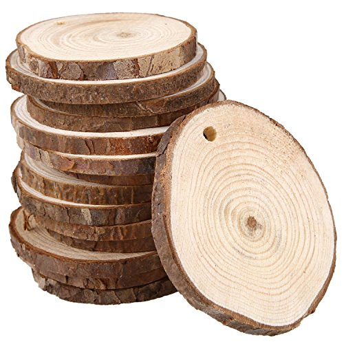 Natural Wood Slices, Unfinished Natural Wood Slices Circles Round Wood Discs Tree Bark Wooden Circles for DIY Craft Rustic Wedding (Rustic Ornaments)