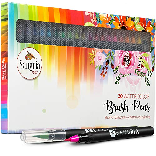 Sangria Pens - Real Brush Pens, 20 different Watercolor Paint Markers with Flexible Brush Tips, Great for Professionals, Painting, Coloring, Calligraphy and Drawing includes 1 Aqua Brush for Blending