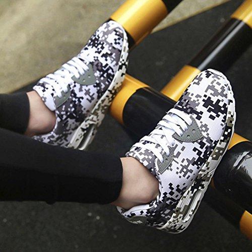 Herren Sneaker Schuhe, LHWY MäNner Und Frauen Mode Camouflage Casual Turnschuhe Paar Outdoor Flache Schuhe Mesh Atmungsaktiv Und Komfortabel Rutschfeste Sneaker White