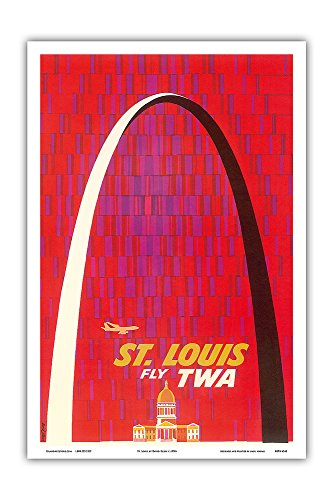 Pacifica Island Art St. Louis, USA - The Gateway Arch Monument - Fly TWA (Trans World Airlines) - Vintage Airline Travel Poster by David Klein c.1950s - Master Art Print - 12in x 18in