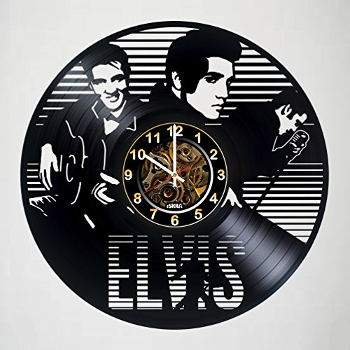 Elvis Presley - King of Rock & Roll - Vinyl Record Wall Clock - Poster - Get unique living room wall decor - Gift ideas for boys and girls, friends, men and women – Legendary King Unique Art Design (Buckle Elvis)