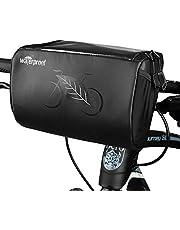 AutoWT Bolsa de manillar de bicicleta, cesta de almacenamiento de cuadro frontal de manillar de bicicleta impermeable con patrones reflectantes y soporte para teléfono con pantalla táctil resistente al agua transparente para ciclismo de carretera MTB al aire libre, 3L