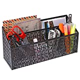 3 Compartment Metal Geometric Cut-out Design Desktop Mail Sorter and Office Supply Caddy, Black