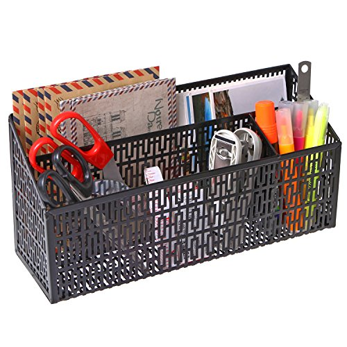 3 Compartment Metal Geometric Cut-out Design Desktop Mail Sorter and Office Supply Caddy, (Cut Out Design Metal)