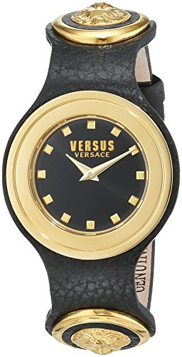 Versus by Versace Women's 'Carnaby Street' Quartz Stainless Steel and Leather Casual Watch, Color Black (Model: SCG020016)