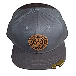 BEER PAWS – Beer Bottle Opener Hat Snapback Flat Bill – Leather (Paw Print Logo) Drinking Buddies Dog Lover Hat for Men & Women w/Metal Hat Bottle Opener Gray