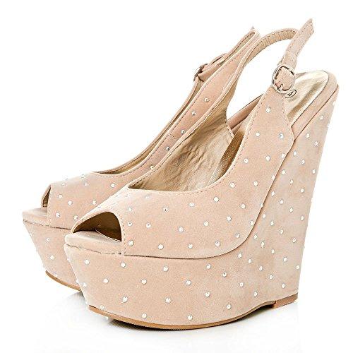 Suedette Tobillo Zapatos Con Nude Correa Mujer De Diva Miss F8qxAA