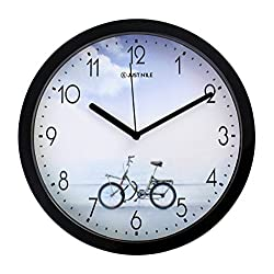JustNile 10 Modern Casual Round Quiet Sweep Movement Wall Clock, Black Frame and Black Hands, Bike on a Coastal Road