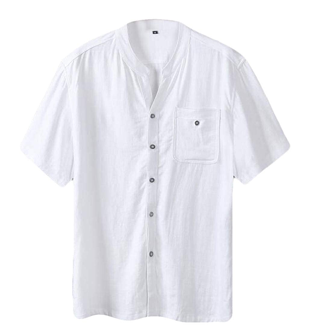 YYear Men Solid Color Big /& Tall Short Sleeve Linen Button Down Shirt with Pocket