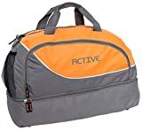 BRUBAKER 20'' Small Sports Gym Duffel Bag with Shoe Compartment - Gray/Orange