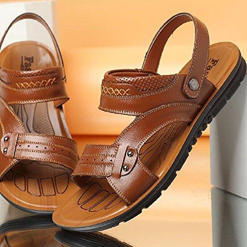 Männer Schuh Breathable echtes Leder Strand Schuh Jugend Sandalen Rindsleder Dual Use Flip Flop Männer Casual Schuhe, gelb, UK = 6, EU = 39