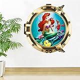 Mermaid Princess 3d Wall Stickers Kids Room Decoration Home Decals Cartoon Window