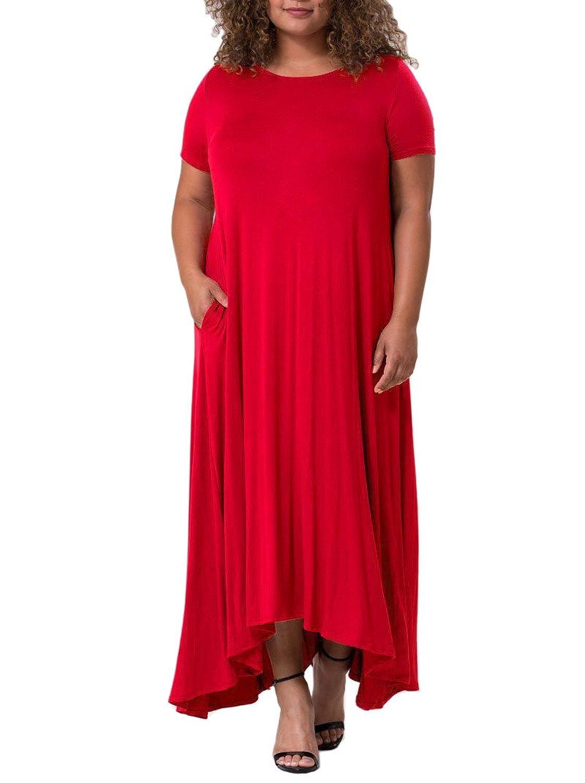 12 Ami Plus Size Georgia Short Sleeve Pocket Maxi Dress - Made in USA