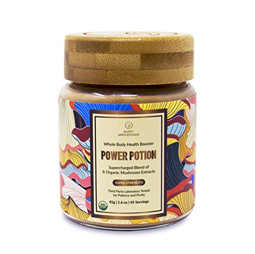 Power Potion High Potency Mushroom Powder Blend - Mushroom Extract Supplement - 8 Medicinal Mushrooms - Cordyceps, Reishi, Lions Mane, Chaga, Turkey Tail, Shiitake - USDA Certified Organic,1.6oz (45 ()